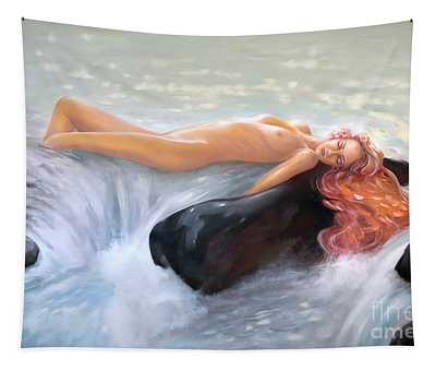 Aquamarine Sea Goddess Tapestry