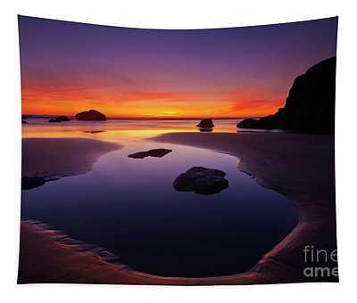 Arcadia Beach Reflections Tapestry