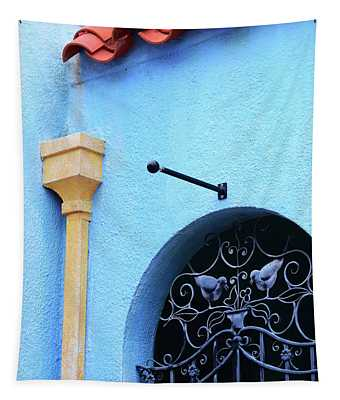 Architectural Photography Art - Blue Mediterranean - Sharon Cummings Tapestry