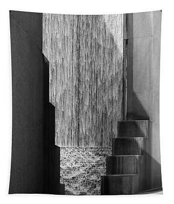 Architectural Waterfall In Black And White Tapestry