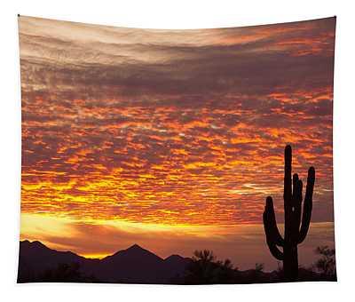 Arizona November Sunrise With Saguaro   Tapestry
