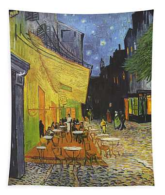 Arles Cafe Terrace At Night Tapestry