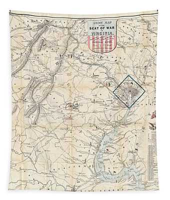 Army Map Of Seat Of War In Virginia 1862 Tapestry