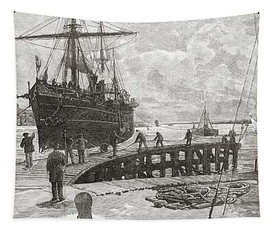 Arrival Of A Steamer At Southampton Tapestry