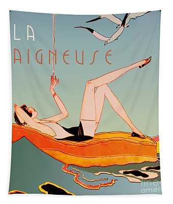 Art Deco Beach Bather Tapestry