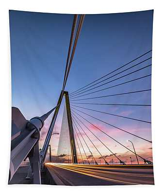 Arthur Ravenel Jr. Bridge Light Trails Tapestry