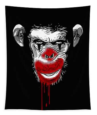 Evil Monkey Clown Tapestry