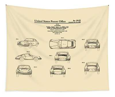 Porsche 911 Patent Tapestry