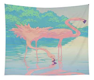 abstract Pink Flamingos retro pop art nouveau tropical bird 80s 1980s florida painting print Tapestry