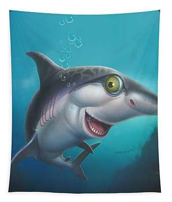friendly Shark Cartoony cartoon under sea ocean underwater scene art print blue grey  Tapestry