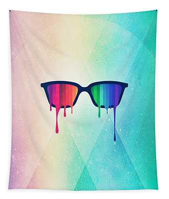 Love Wins Rainbow - Spectrum Pride Hipster Nerd Glasses Tapestry