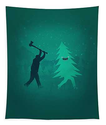 Funny Cartoon Christmas Tree Is Chased By Lumberjack Run Forrest Run Tapestry