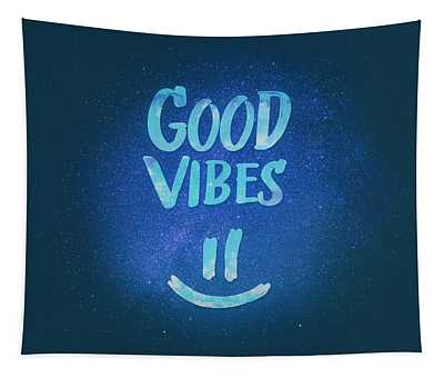 Good Vibes  Funny Smiley Statement Happy Face Blue Stars Edit Tapestry