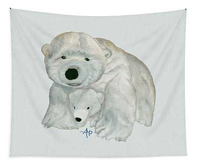 Cuddly Polar Bear Watercolor Tapestry