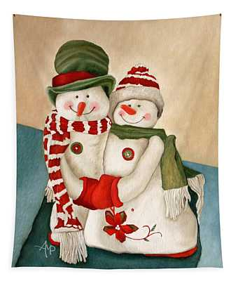 Mr. And Mrs. Snowman Vintage Tapestry