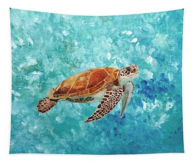 Turtle Swimming Tapestry