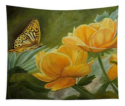 Butterfly Among Yellow Flowers Tapestry