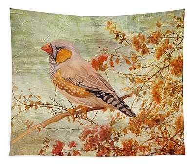Zebra Finch Among Almond Trees Tapestry