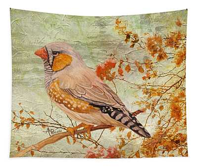 Zebra Finch Among Almond Trees Tapestry