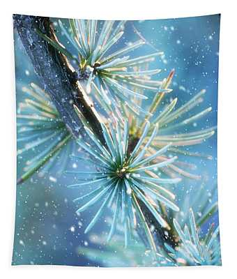 Blue Atlas Cedar Winter Holiday Card Tapestry