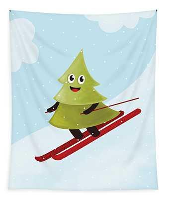 Happy Pine Tree On Ski Tapestry