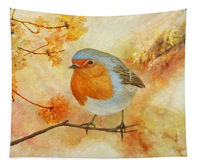 Robin Among Flowers Tapestry