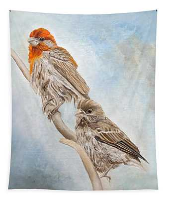 House Finch Couple Tapestry