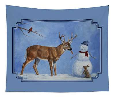 Whitetail Deer And Snowman - Whose Carrot? Tapestry