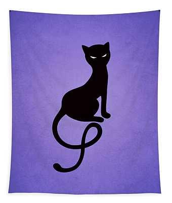 Purple Gracious Evil Black Cat Tapestry