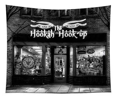 Asheville North Carolina Hookah Shop In Black And White Tapestry
