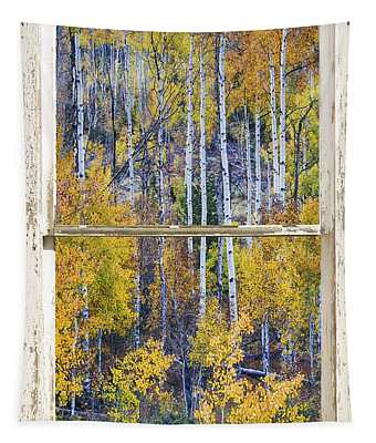 Aspen Tree Magic Cottonwood Pass White Farm House Window Art Tapestry