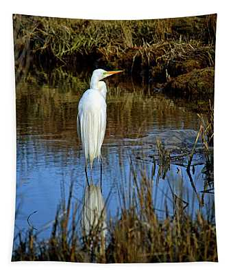 Assateague Island Great Egret Ardea Alba Tapestry