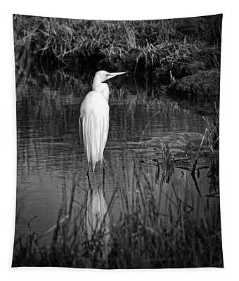 Assateague Island Great Egret Ardea Alba In Black And White Tapestry