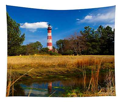 Assateague Lighthouse Reflection Tapestry