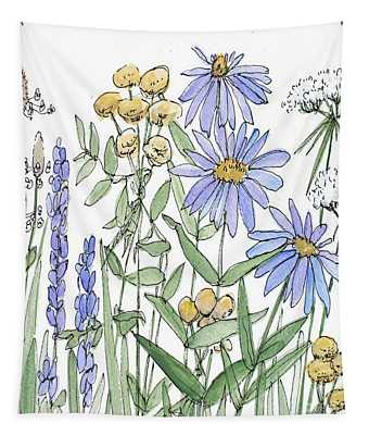 Asters And Wildflowers Tapestry