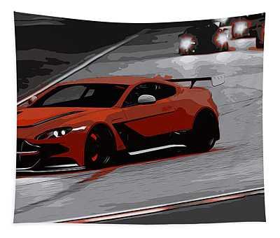 Aston Martin Vantage Gt12 Tapestry by Andrea Mazzocchetti