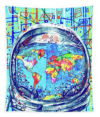 Astronaut World Map 2 Tapestry