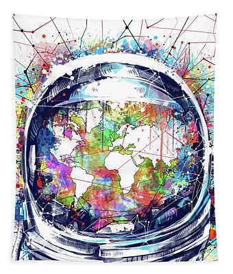Astronaut World Map 6 Tapestry