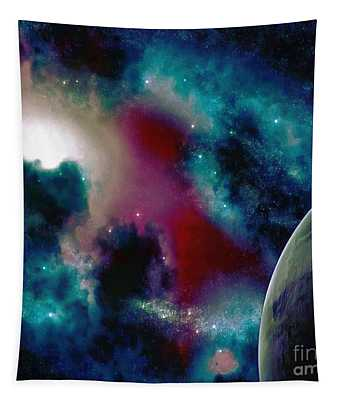 Astronomy Painting Glammed Out Teal Tapestry