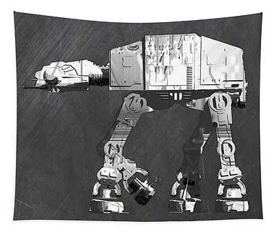 At At Walker From Star Wars Vintage Recycled License Plate Scrap Metal Art Tapestry