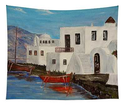At Home In Greece Tapestry