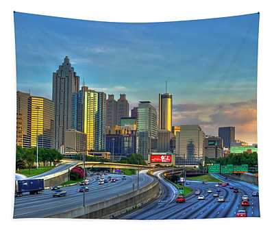 Atlanta Coca-cola Sunset Reflections Art Tapestry