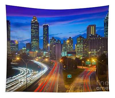 Atlanta Downtown By Night Tapestry
