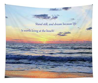 Atlantic Sunrise And Quote Tapestry