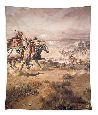 Attack On The Wagon Train Tapestry