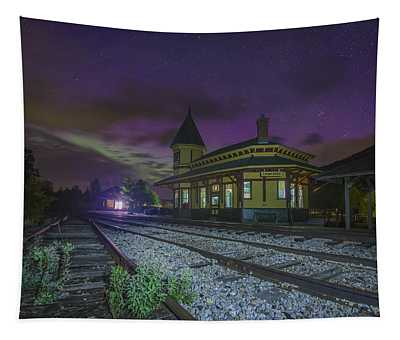 Aurora Over The Crawford Notch Depot Tapestry