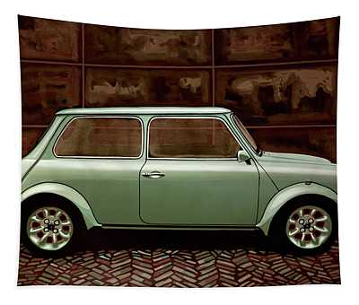 Austin Mini Cooper Mixed Media Tapestry