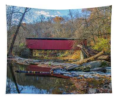 Autumn Along The Wissahickon Creek -thomas Mill Covered Bridge Tapestry