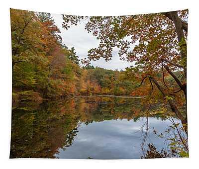 Autumn At Hillside Pond Tapestry