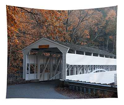 Autumn At Knox Covered Bridge In Valley Forge Tapestry